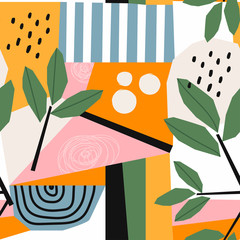 Panel Szklany Liście Hand drawn various shapes and leaves, spots, dots and lines. Different colors. Abstract contemporary seamless pattern. Modern patchwork illustration in vector