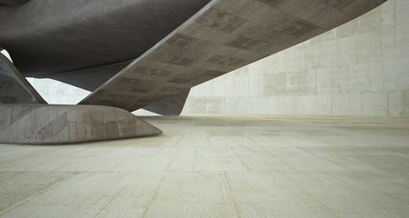 Abstract architectural brown and beige concrete smooth interior of a minimalist house. 3D illustration and rendering