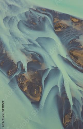 Diseños fluviales. Deshielo glaciar. Río Ólfusa. Sur de Islandia.