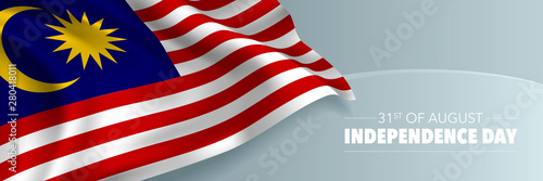 Fotomural  Malaysia happy independence day vector banner, greeting card