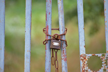 Old Gate Locked With A Padlock