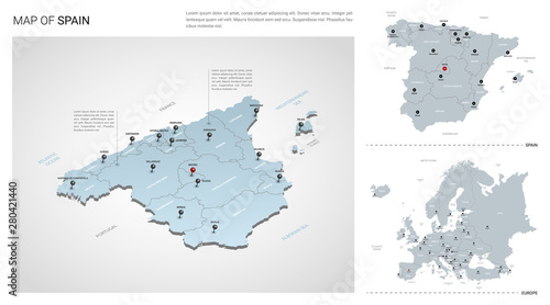 Map Of Spain In Europe.Vector Set Of Spain Country Isometric 3d Map Spain Map Europe Map