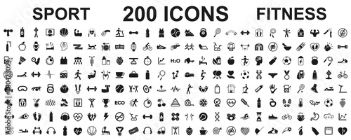 Set 200 isolated icons spotr - fitness Tapéta, Fotótapéta