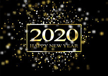 Plate With A Gold Frame, With Metal Numerals. 2020 New Year. Brilliant Snowflakes, Glare, Flashing Lights. Blur Effect, Focus.