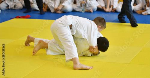 Boys compete in Judo Canvas Print
