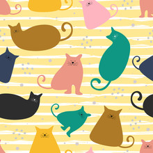 Funny Cat Seamless Pattern Col...