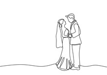 Continuous Line Couple In Wedd...