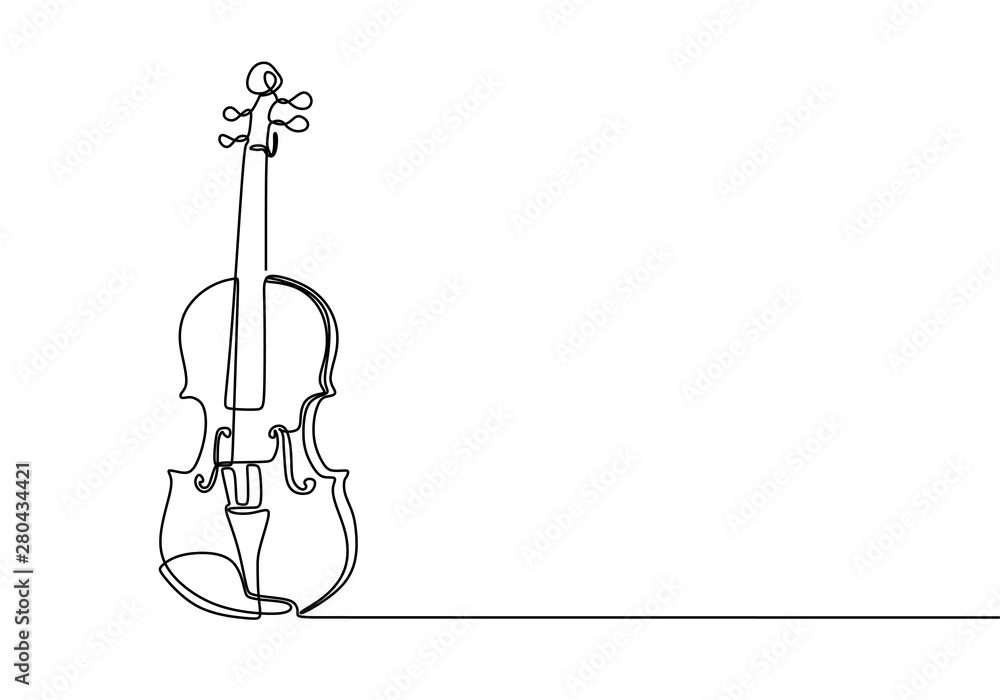 Fototapeta Violin continuous line drawing minimalist design