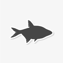 Fish Sticker Isolated On White...