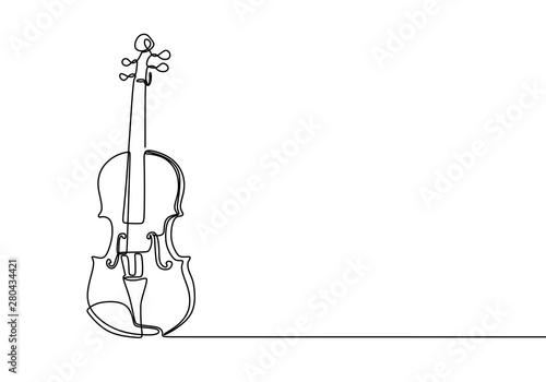 Fotografie, Obraz Violin continuous line drawing minimalist design