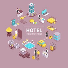 Hotel Isometric Composition