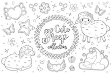 Cute Little Sheep Set Coloring Book Page For Kids. Collection Of Design Element, Outline, Doodle Style. Kids Baby Clip Art Antistress. Vector Illustration.