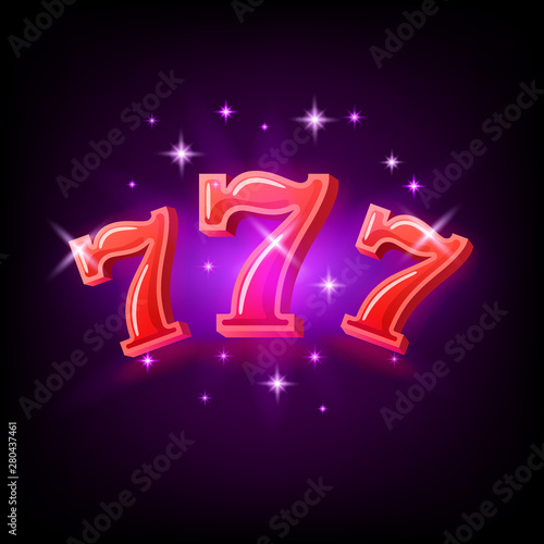 Tela Big win slots red 777 banner casino on the purple background