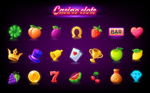 Colorful Slots Icon Set For Casino Slot Machine, Gambling Games, Icons For Mobile Arcade And Puzzle Games Vector