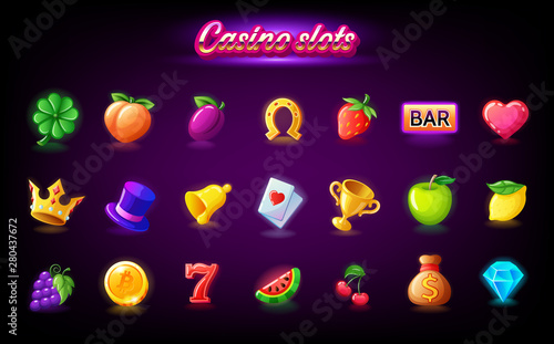 Cuadros en Lienzo Colorful slots icon set for casino slot machine, gambling games, icons for mobil