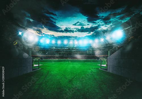 Fotografie, Obraz  Soccer stadium seen by the exit of the locker room tunnel