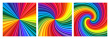 Backgrounds Set Of Vivid Rainbow Colored Swirl Twisting Towards Center. Vector Illustration