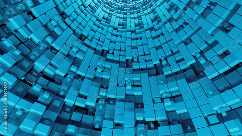 3d digital background with circular surface broken into square fragments. Digital theme.