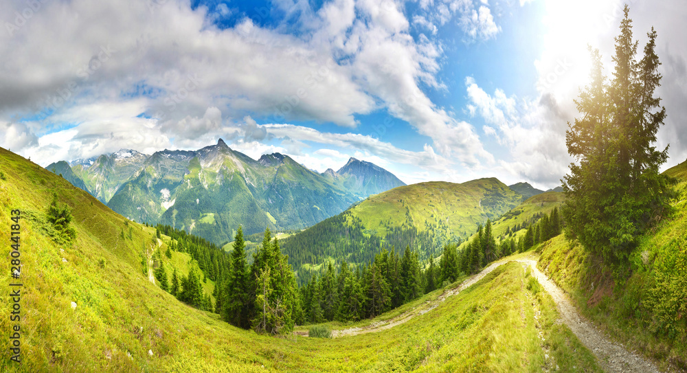 Fototapety, obrazy: Narrow path in summer mountains