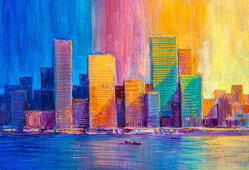 Abstract painting of urban ...