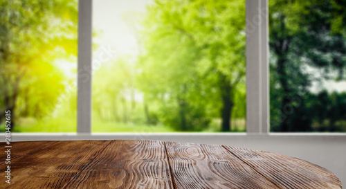 Photo sur Toile Les Textures Desk of free space and summer window background