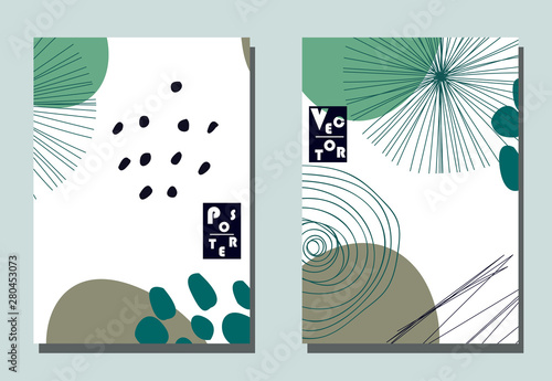 Cover with graphic elements - abstract shapes: circles and lines Fototapet