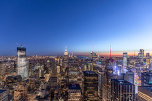 Skyline At Blue Hour, Manhattan, New York City, USA