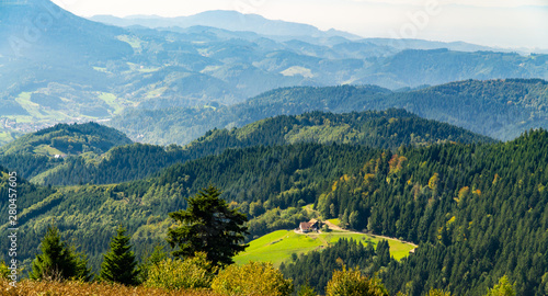 Photo Stands Green blue Mountains in Blackforest in Germany