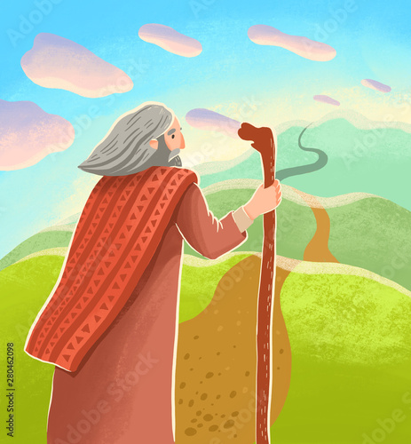 Abraham is standing with stick with looking at long far road Fotomurales