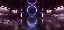 Smoke Sci Fi Modern Futuristic Neon Lights Purple Blue Glow Concrete Columns Circle Shape Technology Schematic Chip Texture Reflective Dark Room Corridor Alien Spaceship Night Vibrant 3D Rendering