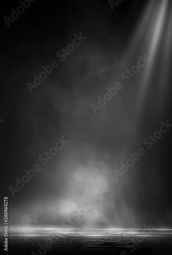 Carta da parati  Wet asphalt, reflection of neon lights, a searchlight, smoke