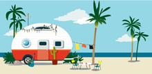 A Camper Trailer At The Beach ...