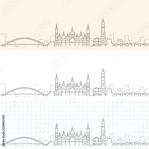 Zaragoza Hand Drawn Profile Skyline