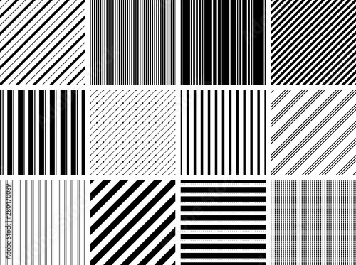 Seamless Stripe Patterns Black Fototapet