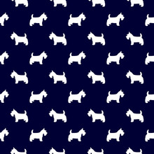 Scottish Terrier Dog Breed Seamless Pattern In Navy Blue Background Attractive Design. Scottish Terrier Seamless Pattern Vector Illustration.