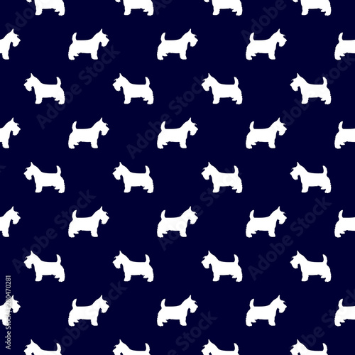 obraz lub plakat Scottish Terrier dog breed seamless pattern in navy blue background attractive design.