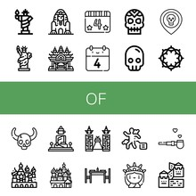 Set Of Of Icons Such As Statue Of Liberty, Great Sphinx Giza, Sanctuary Truth, Th July, Skull, Crown Thorns, Cathedral Saint Basil, Great Buddha Thailand ,