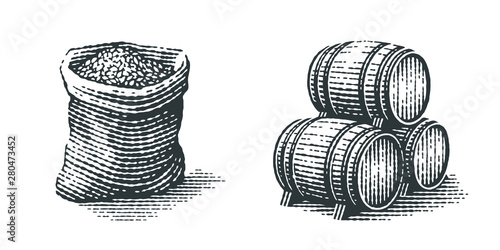 Billede på lærred Malt in burlap bag and wood barrels