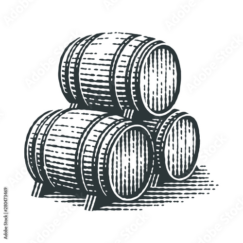 Canvas-taulu Wood barrels. Hand drawn engraving style illustrations.