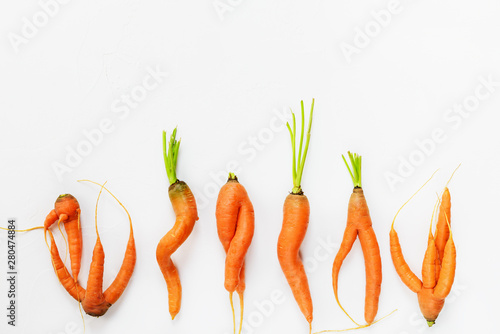 Obraz Ugly carrots on a white background. Ugly food concept, flat lay, copy space. - fototapety do salonu