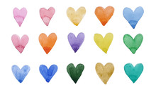 Print Of Watercolor With Colorful Hearts