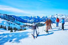 The Group Of Skiers On Zwieselalm Mountain, Gosau, Austria