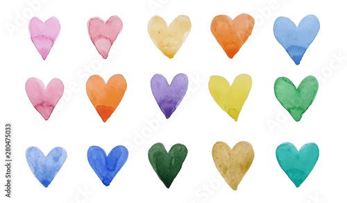 Carta da parati  print of watercolor with colorful hearts
