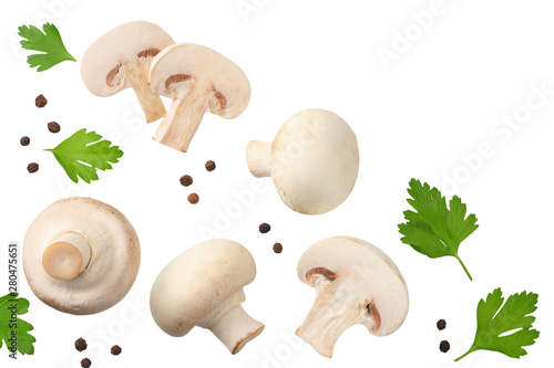 mushrooms with slices, parsley leaf and peppercorns isolated on white background Tablou Canvas
