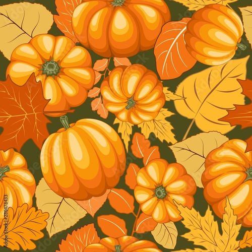 Foto auf AluDibond Ziehen Pumpkins and Autumn Leaves Joyful Thanksgiving Halloween Party Vector Illustration