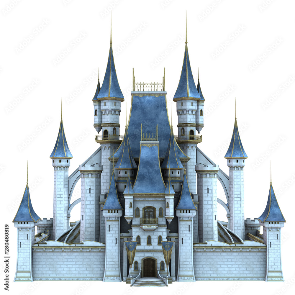 Fototapeta 3D Rendered Fairy Tale Castle on White Background - 3D Illustration