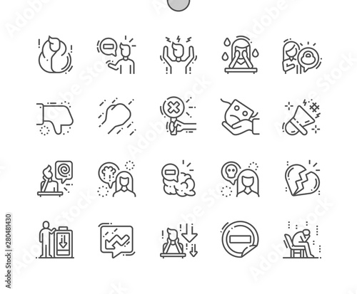 Fotografia Negative thinking Well-crafted Pixel Perfect Vector Thin Line Icons 30 2x Grid for Web Graphics and Apps