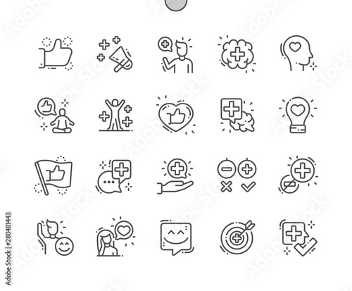 Canvas-taulu Positive thinking Well-crafted Pixel Perfect Vector Thin Line Icons 30 2x Grid for Web Graphics and Apps