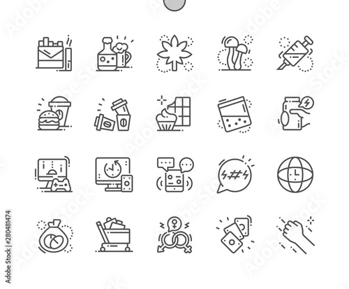 Pinturas sobre lienzo  Bad habits Well-crafted Pixel Perfect Vector Thin Line Icons 30 2x Grid for Web Graphics and Apps
