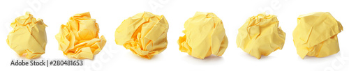 Photo Set with yellow paper balls on white background. Banner design